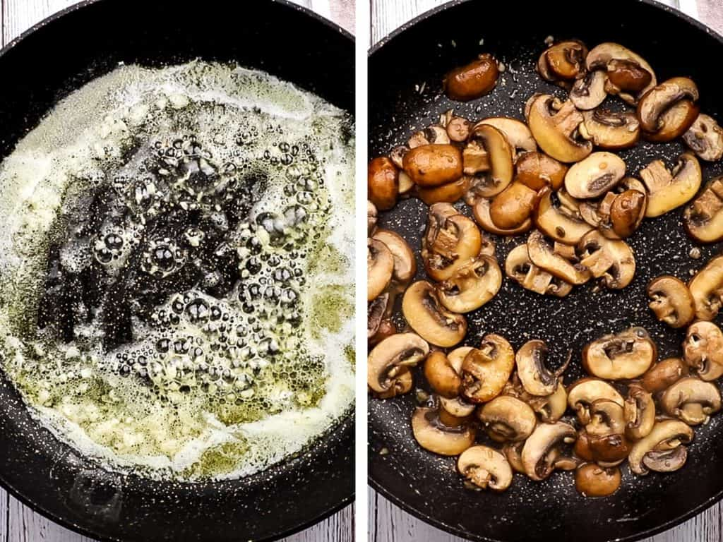 sauteeing mushrooms in butter and garlic.