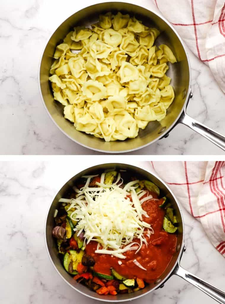 Cooked tortellini in a pot and with tomato sauce and cheese added to the pot.