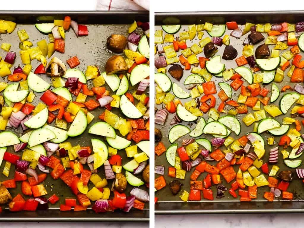 Vegetables on a baking sheet, before and after roasting.