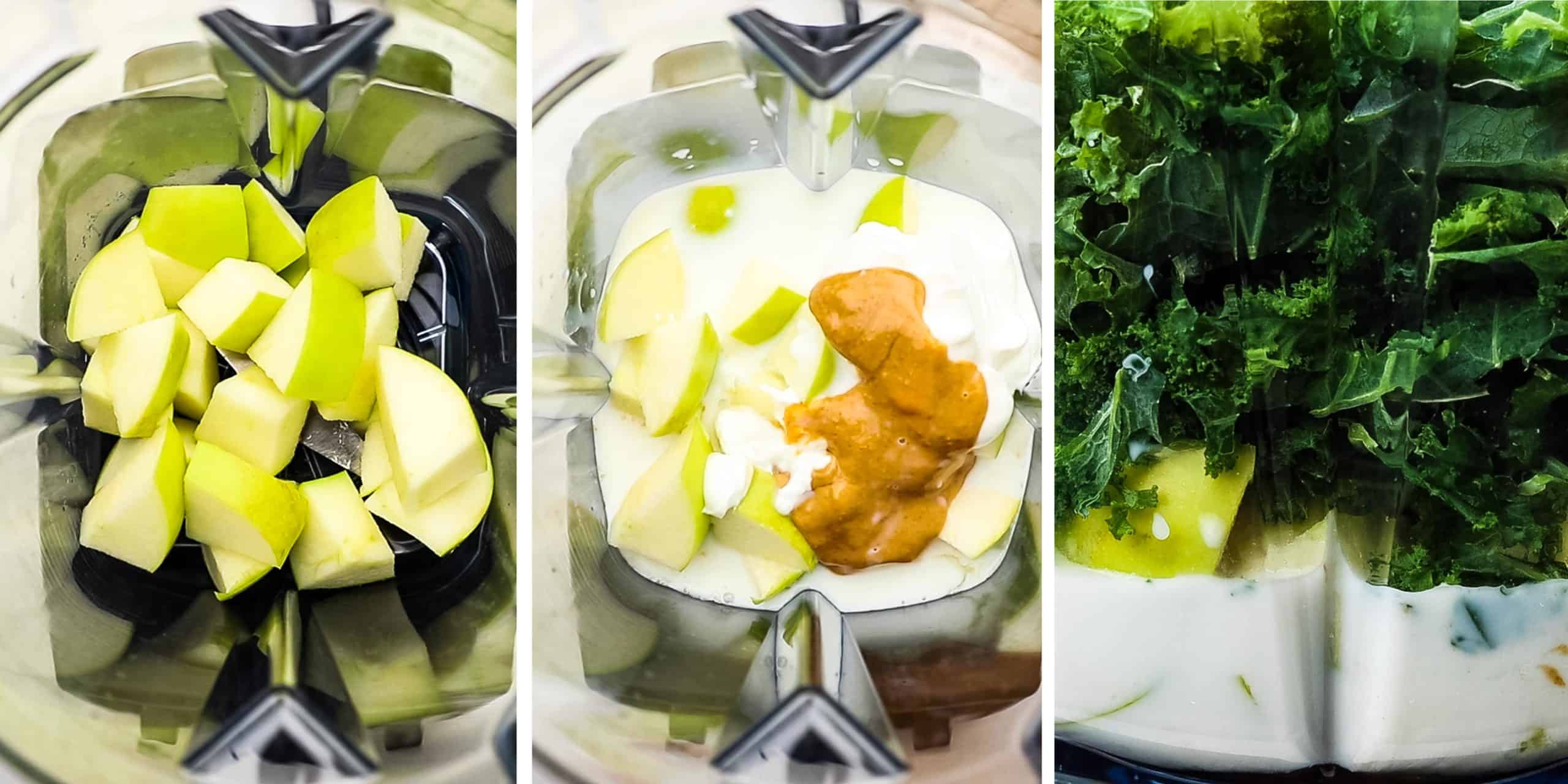 Ingredients for a kale apple smoothie being added to a blender.