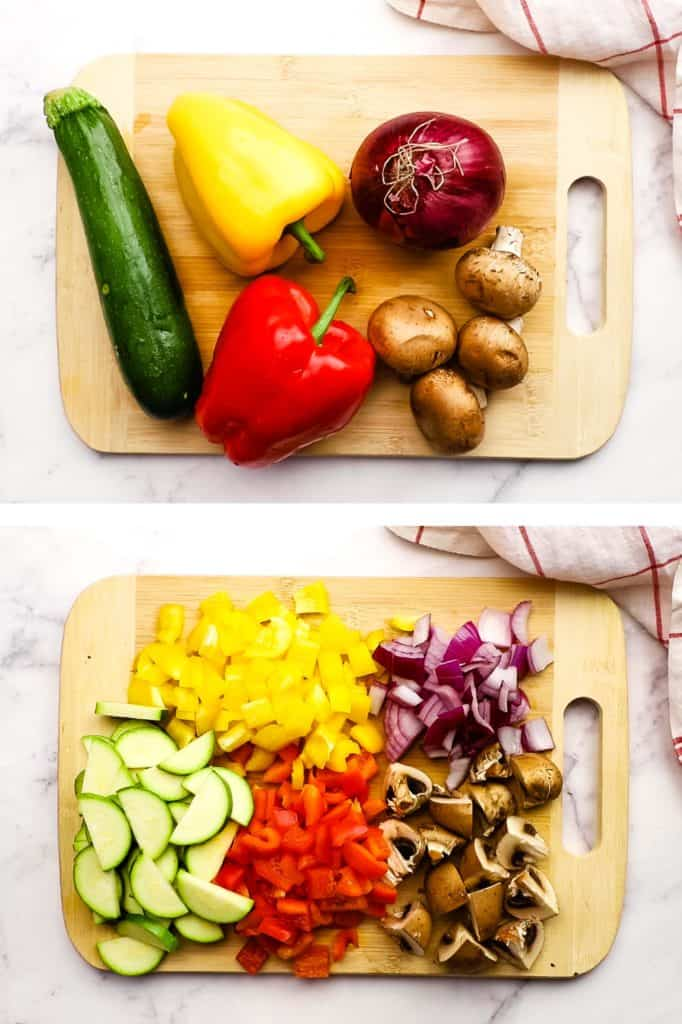 Vegetables on a chopping board, before and after chopping.